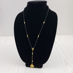 1928 Black Antique Gold Tone Beaded Necklace Drop